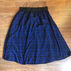Lularoe Blue Black Aztec Sheer Lola Midi Skirt